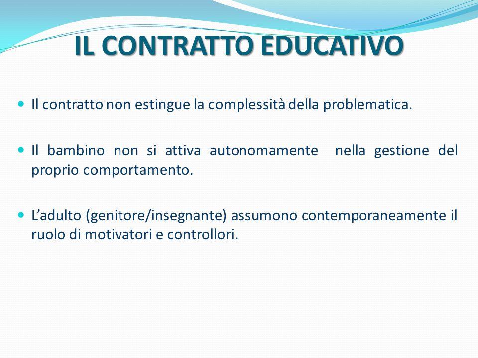 IL CONTRATTO EDUCATIVO Il contratto non estingue la complessità della problematica. Il bambino non si attiva autonomamente nella gestione del proprio