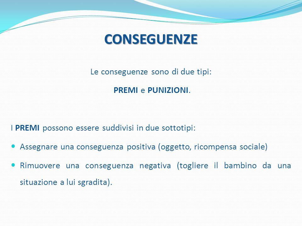 CONSEGUENZE Le conseguenze sono di due tipi: PREMI e PUNIZIONI. I PREMI possono essere suddivisi in due sottotipi: Assegnare una conseguenza positiva