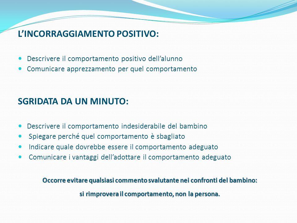 L'INCORRAGGIAMENTO POSITIVO: Descrivere il comportamento positivo dell'alunno Comunicare apprezzamento per quel comportamento SGRIDATA DA UN MINUTO: D