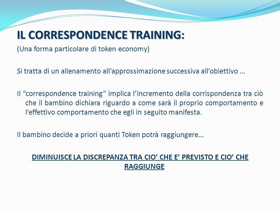 """IL CORRESPONDENCE TRAINING: (Una forma particolare di token economy) Si tratta di un allenamento all'approssimazione successiva all'obiettivo … Il """"co"""