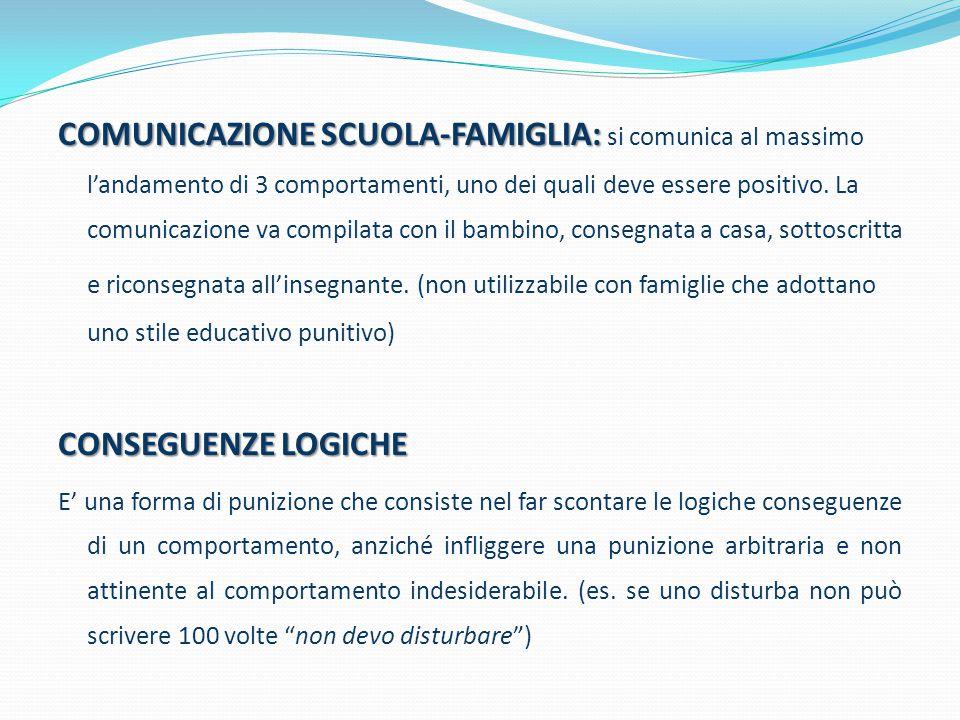 COMUNICAZIONE SCUOLA-FAMIGLIA: COMUNICAZIONE SCUOLA-FAMIGLIA: si comunica al massimo l'andamento di 3 comportamenti, uno dei quali deve essere positiv