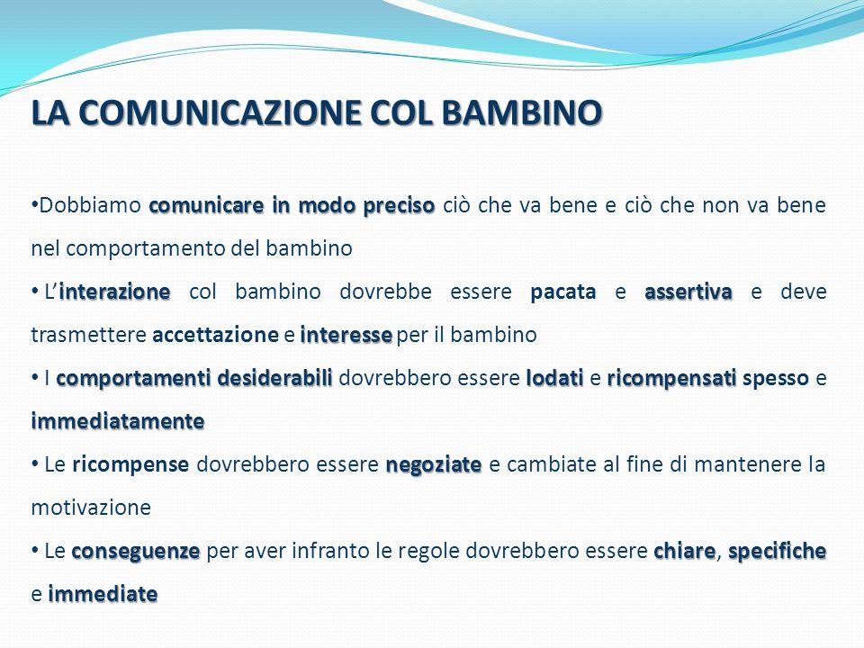 LA COMUNICAZIONE COL BAMBINO comunicare in modo preciso Dobbiamo comunicare in modo preciso ciò che va bene e ciò che non va bene nel comportamento de