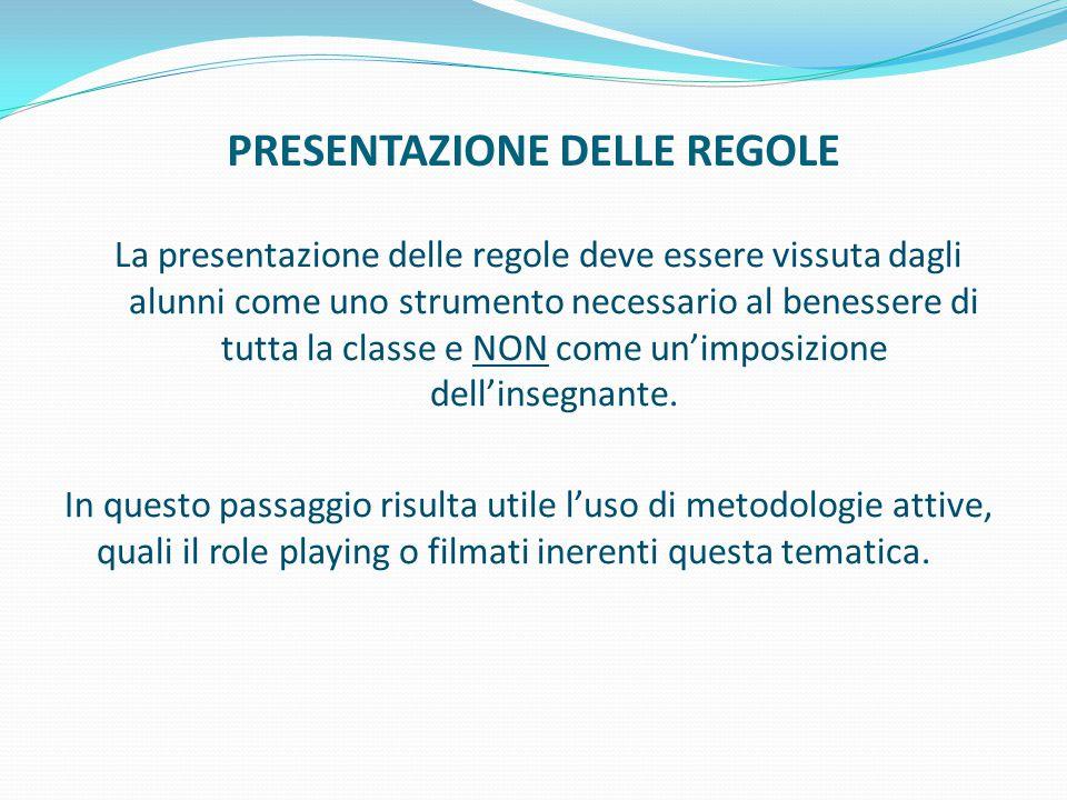 PRESENTAZIONE DELLE REGOLE La presentazione delle regole deve essere vissuta dagli alunni come uno strumento necessario al benessere di tutta la class