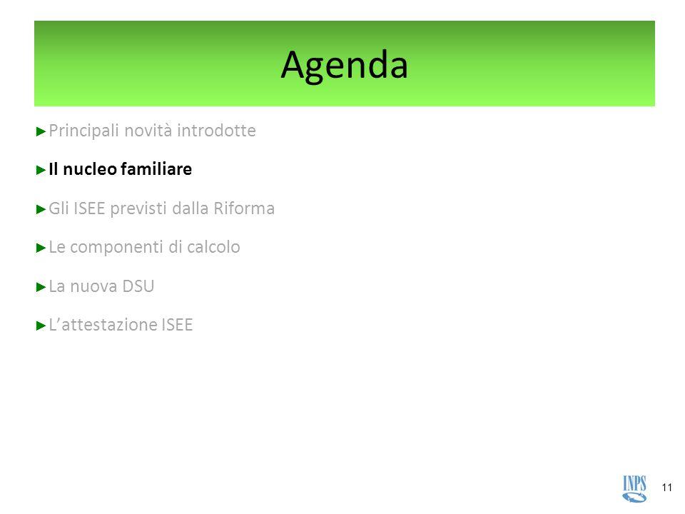 11 Agenda ► Principali novità introdotte ► Il nucleo familiare ► Gli ISEE previsti dalla Riforma ► Le componenti di calcolo ► La nuova DSU ► L'attesta