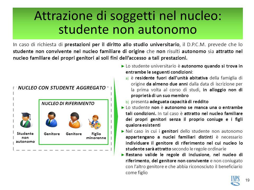 19 Attrazione di soggetti nel nucleo: studente non autonomo In caso di richiesta di prestazioni per il diritto allo studio universitario, il D.P.C.M.