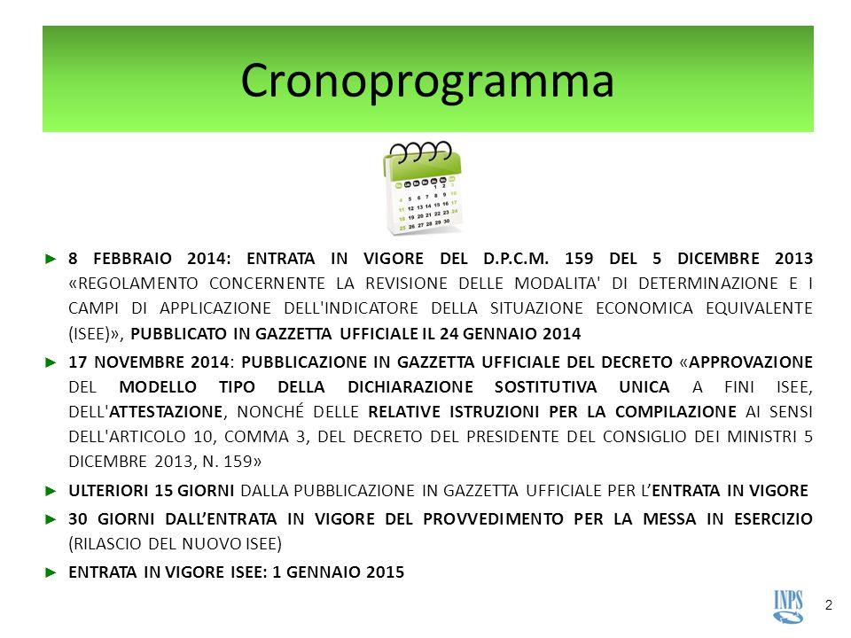 2 Cronoprogramma ► 8 FEBBRAIO 2014: ENTRATA IN VIGORE DEL D.P.C.M. 159 DEL 5 DICEMBRE 2013 «REGOLAMENTO CONCERNENTE LA REVISIONE DELLE MODALITA' DI DE