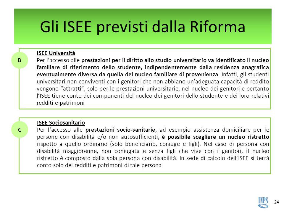 24 Gli ISEE previsti dalla Riforma ISEE Università Per l'accesso alle prestazioni per il diritto allo studio universitario va identificato il nucleo f