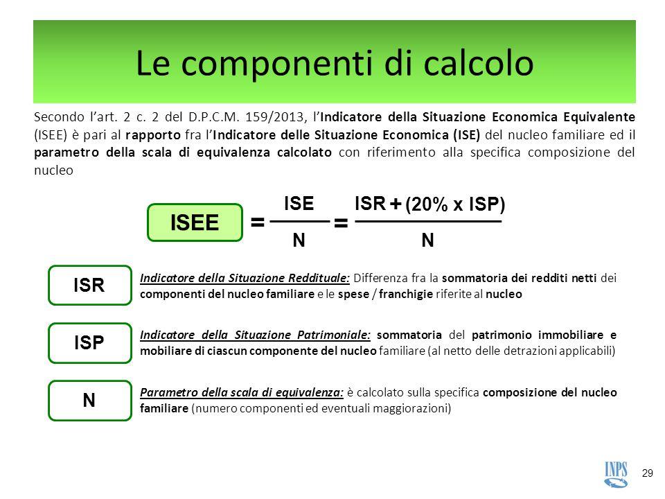 29 ISEE ISE = N = ISR + (20% x ISP) N Le componenti di calcolo Secondo l'art. 2 c. 2 del D.P.C.M. 159/2013, l'Indicatore della Situazione Economica Eq