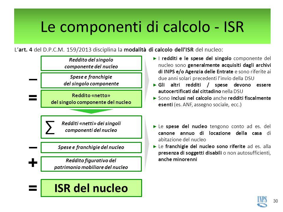 30 Le componenti di calcolo - ISR L'art. 4 del D.P.C.M. 159/2013 disciplina la modalità di calcolo dell'ISR del nucleo: Reddito «netto» del singolo co