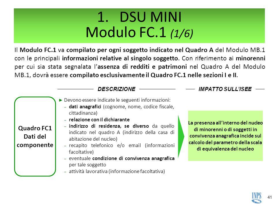 41 Quadro FC1 Dati del componente DESCRIZIONE ► Devono essere indicate le seguenti informazioni: ‒ dati anagrafici (cognome, nome, codice fiscale, cit