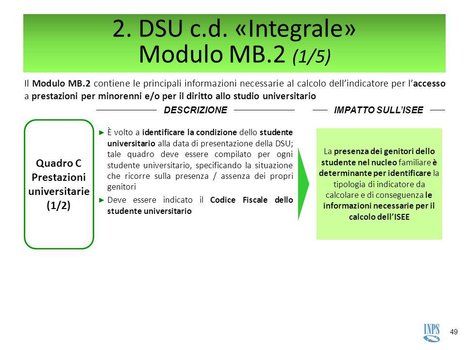 49 2. DSU c.d. «Integrale» Modulo MB.2 (1/5) Il Modulo MB.2 contiene le principali informazioni necessarie al calcolo dell'indicatore per l'accesso a