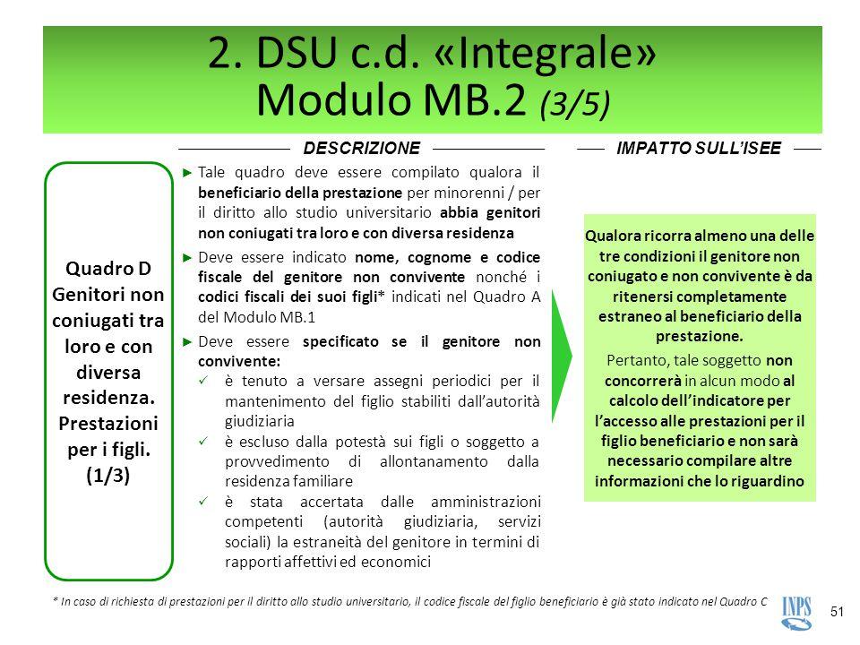 51 2. DSU c.d. «Integrale» Modulo MB.2 (3/5) DESCRIZIONEIMPATTO SULL'ISEE Quadro D Genitori non coniugati tra loro e con diversa residenza. Prestazion