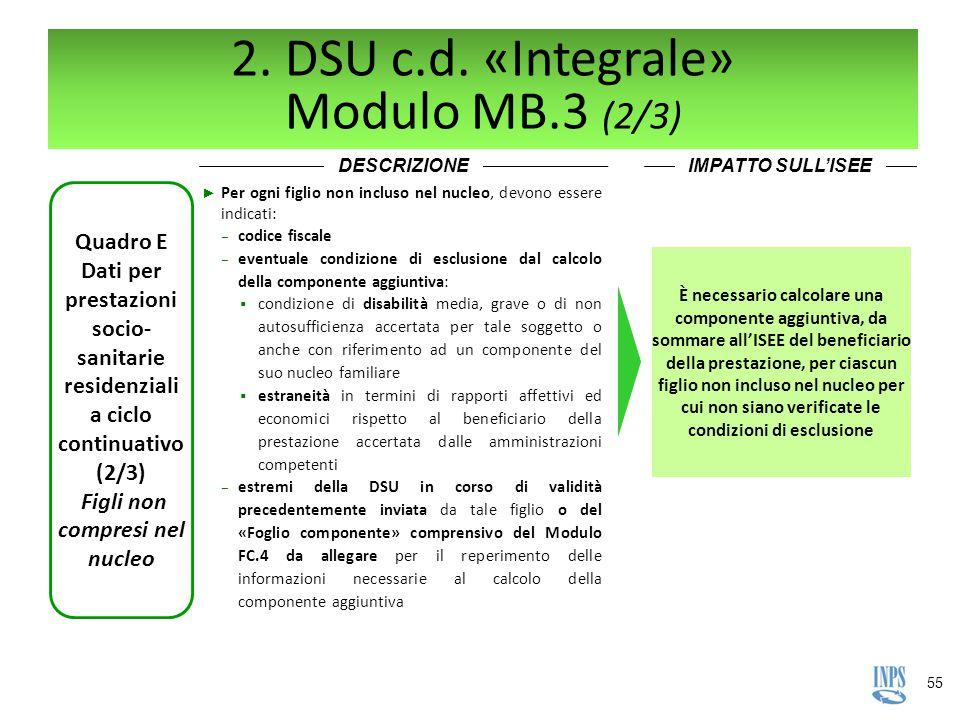 55 2. DSU c.d. «Integrale» Modulo MB.3 (2/3) DESCRIZIONEIMPATTO SULL'ISEE Quadro E Dati per prestazioni socio- sanitarie residenziali a ciclo continua