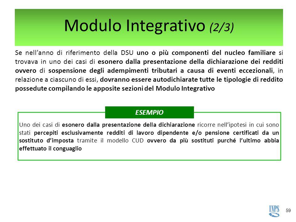 59 Modulo Integrativo (2/3) Uno dei casi di esonero dalla presentazione della dichiarazione ricorre nell'ipotesi in cui sono stati percepiti esclusiva