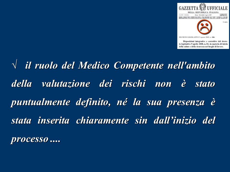 √ il ruolo del Medico Competente nell'ambito della valutazione dei rischi non è stato puntualmente definito, né la sua presenza è stata inserita chiar