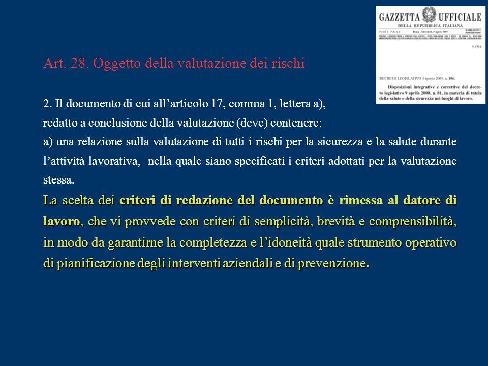 Art. 28. Oggetto della valutazione dei rischi 2. Il documento di cui all'articolo 17, comma 1, lettera a), redatto a conclusione della valutazione (de