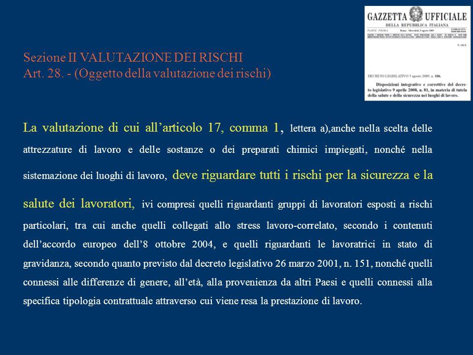 Sezione II VALUTAZIONE DEI RISCHI Art. 28. - (Oggetto della valutazione dei rischi) La valutazione di cui all'articolo 17, comma 1, lettera a),anche n