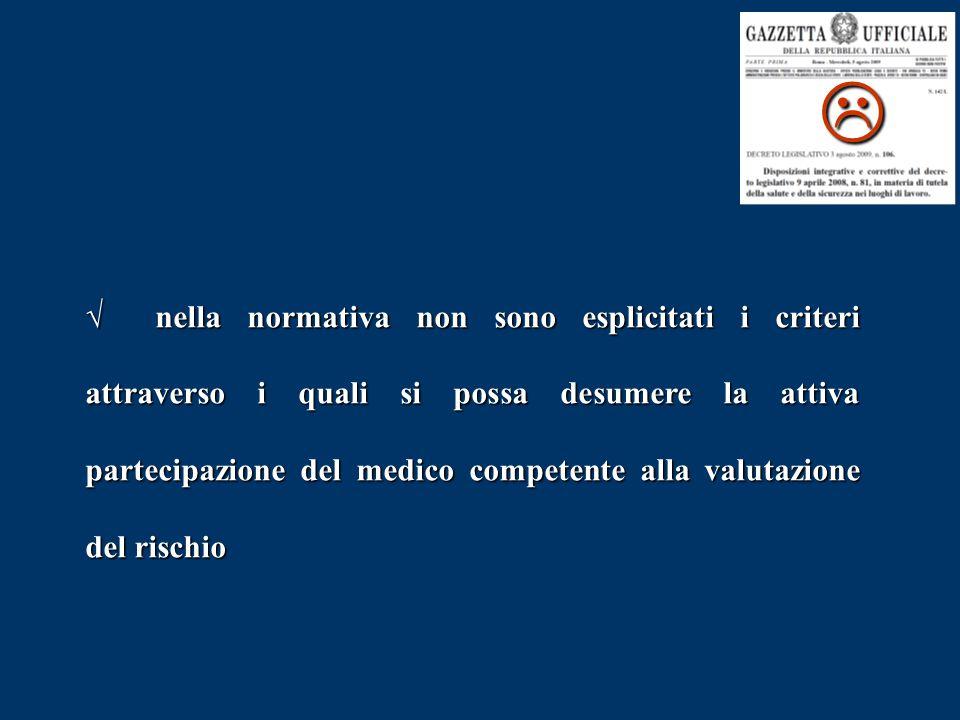  √ nella normativa non sono esplicitati i criteri attraverso i quali si possa desumere la attiva partecipazione del medico competente alla valutazione del rischio