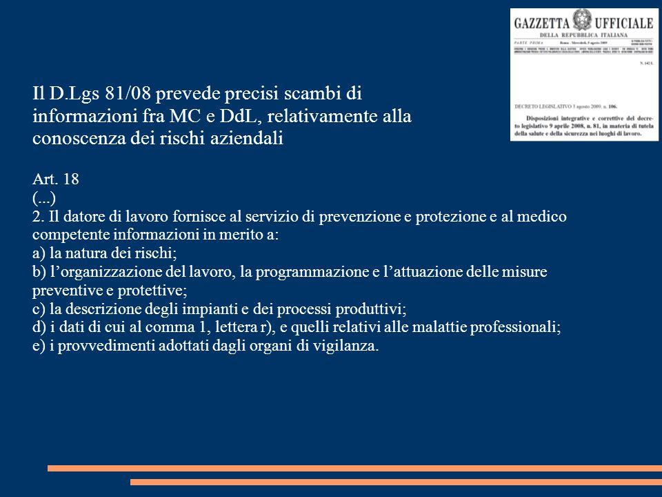 Il D.Lgs 81/08 prevede precisi scambi di informazioni fra MC e DdL, relativamente alla conoscenza dei rischi aziendali Art. 18 (...) 2. Il datore di l
