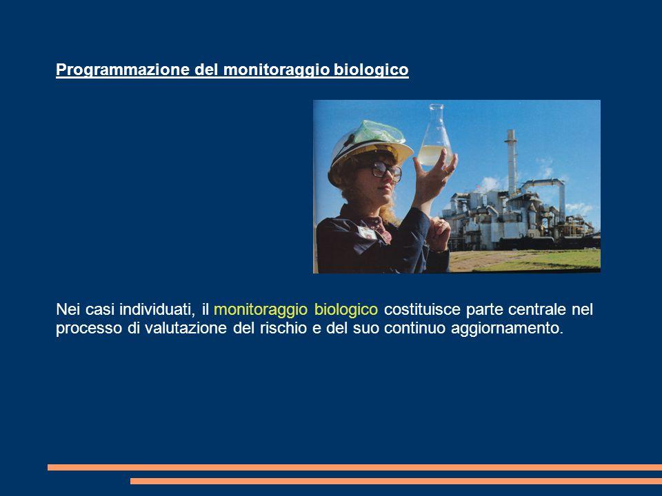 Programmazione del monitoraggio biologico Nei casi individuati, il monitoraggio biologico costituisce parte centrale nel processo di valutazione del rischio e del suo continuo aggiornamento.