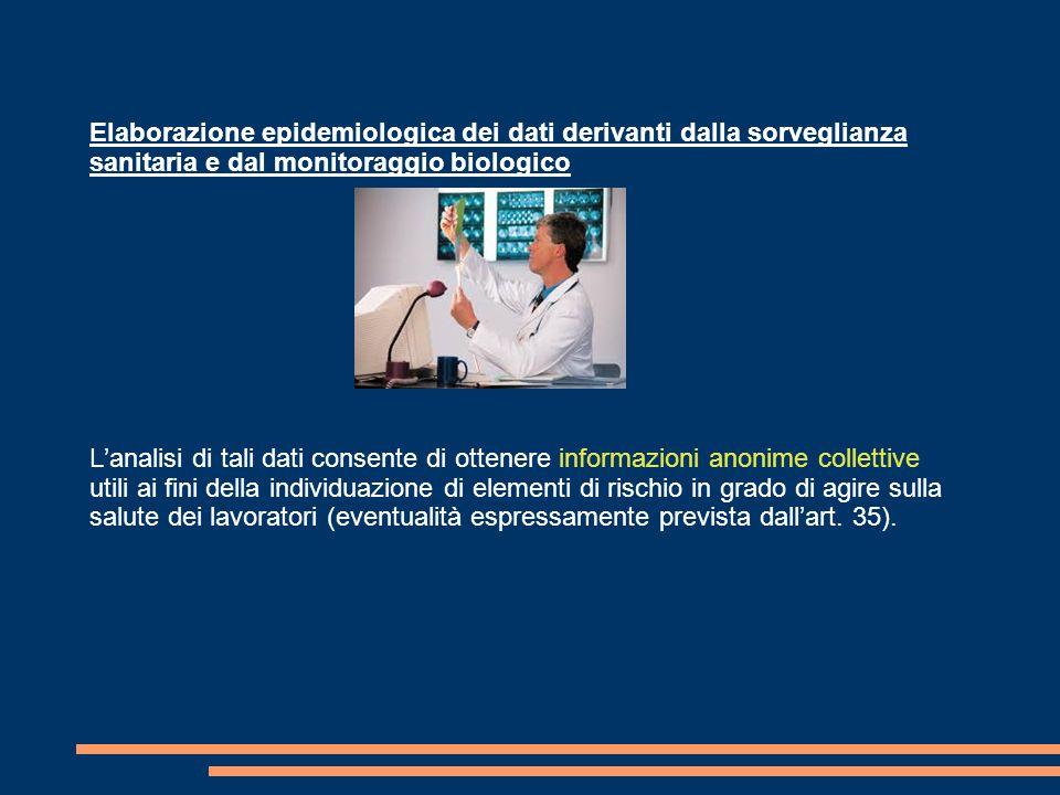 Elaborazione epidemiologica dei dati derivanti dalla sorveglianza sanitaria e dal monitoraggio biologico L'analisi di tali dati consente di ottenere i