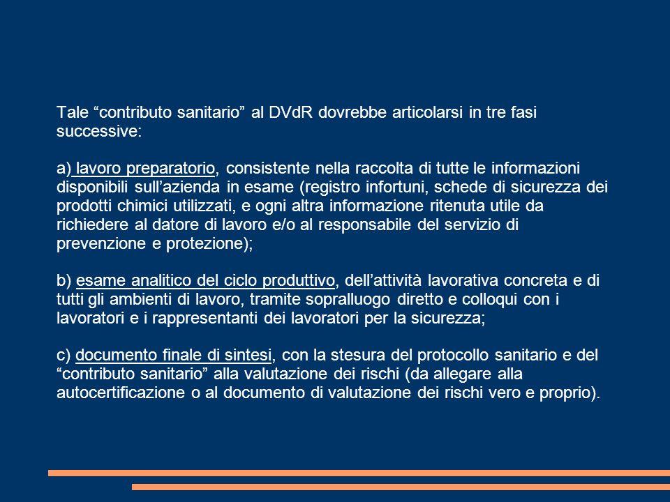 """Tale """"contributo sanitario"""" al DVdR dovrebbe articolarsi in tre fasi successive: a) lavoro preparatorio, consistente nella raccolta di tutte le inform"""