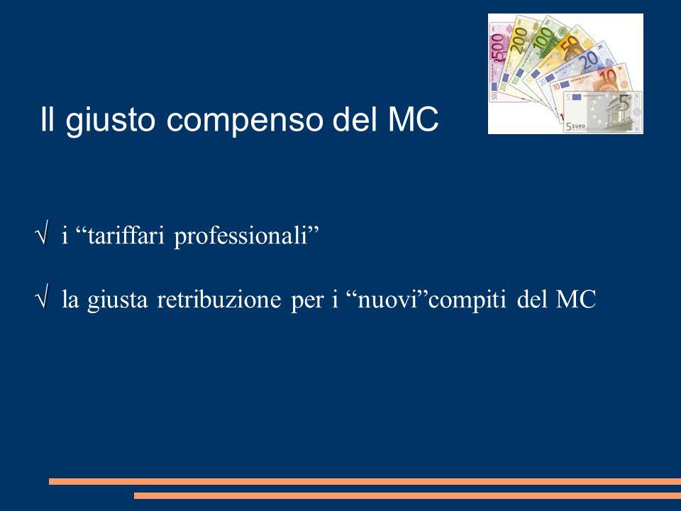 """Il giusto compenso del MC √ √ i """"tariffari professionali"""" √ √ la giusta retribuzione per i """"nuovi""""compiti del MC"""