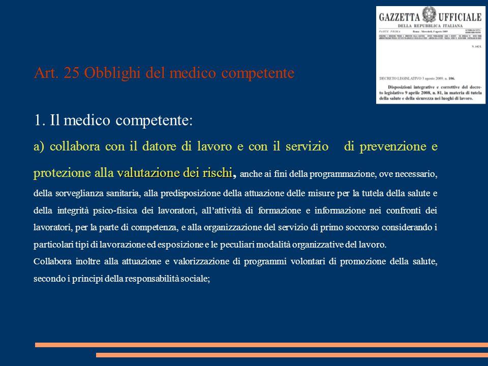Art. 25 Obblighi del medico competente 1. Il medico competente: valutazione dei rischi a) collabora con il datore di lavoro e con il servizio di preve