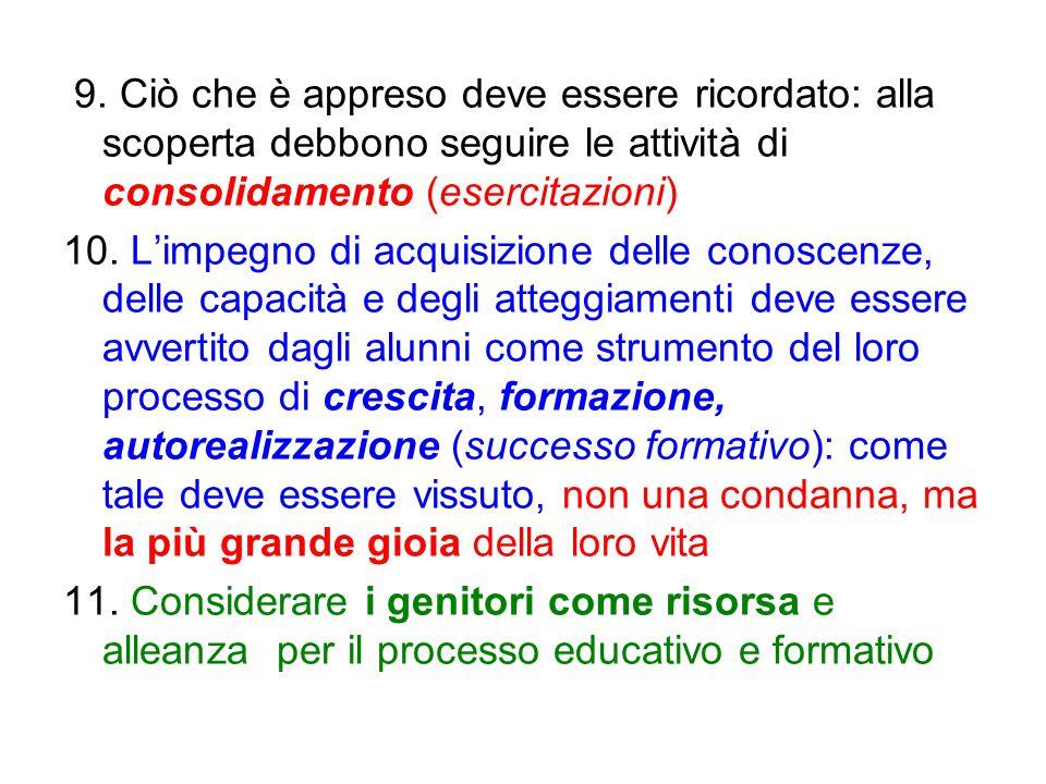 9. Ciò che è appreso deve essere ricordato: alla scoperta debbono seguire le attività di consolidamento (esercitazioni) 10. L'impegno di acquisizione