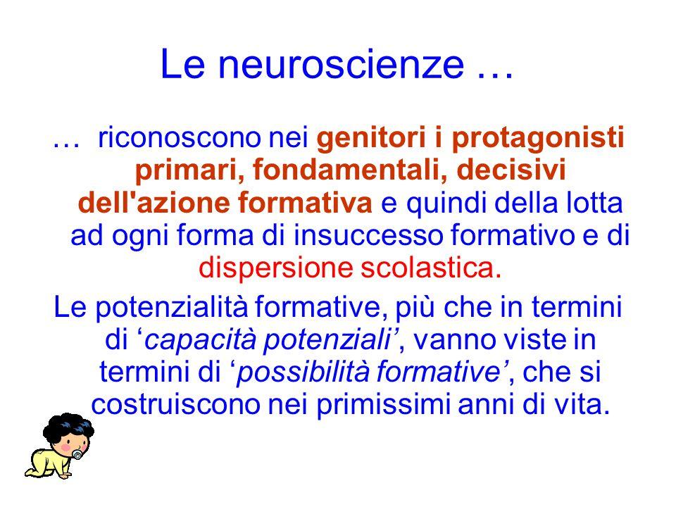 Le neuroscienze … … riconoscono nei genitori i protagonisti primari, fondamentali, decisivi dell azione formativa e quindi della lotta ad ogni forma di insuccesso formativo e di dispersione scolastica.