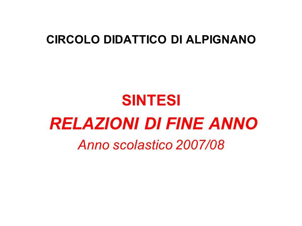 CIRCOLO DIDATTICO DI ALPIGNANO SINTESI RELAZIONI DI FINE ANNO Anno scolastico 2007/08