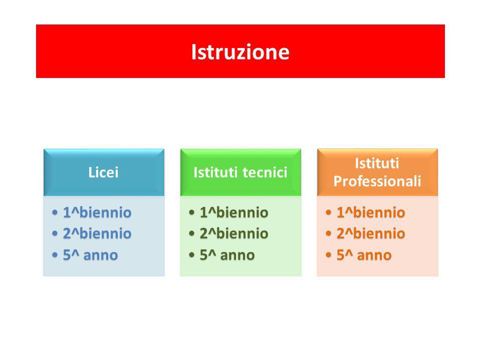 Istruzione Licei 1^biennio1^biennio 2^biennio2^biennio 5^ anno5^ anno Istituti tecnici 1^biennio1^biennio 2^biennio2^biennio 5^ anno5^ anno Istituti P