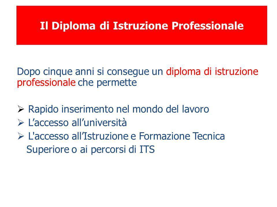 Il Diploma di Istruzione Professionale Dopo cinque anni si consegue un diploma di istruzione professionale che permette  Rapido inserimento nel mondo