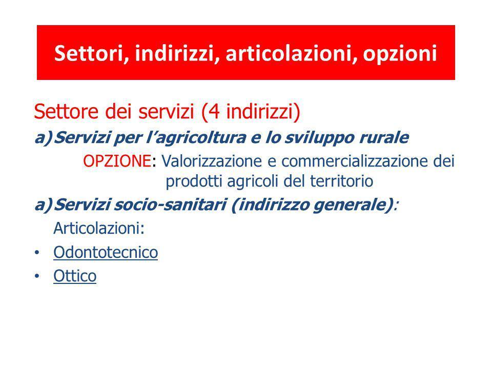 Settore dei servizi (4 indirizzi) a)Servizi per l'agricoltura e lo sviluppo rurale OPZIONE: Valorizzazione e commercializzazione dei prodotti agricoli