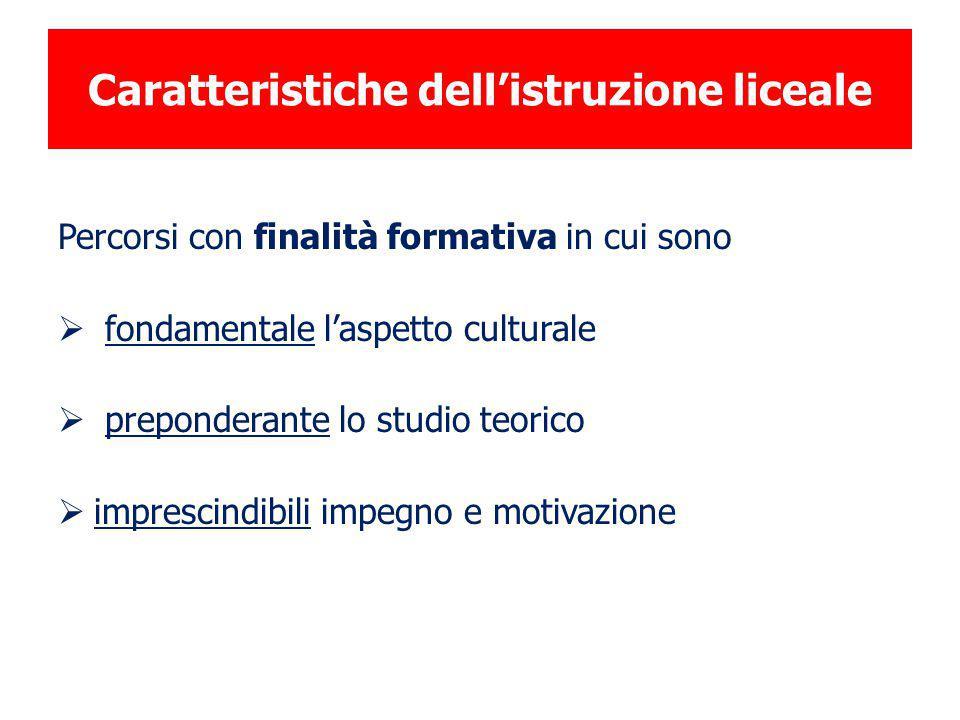 Caratteristiche dell'istruzione liceale Percorsi con finalità formativa in cui sono  fondamentale l'aspetto culturale  preponderante lo studio teori