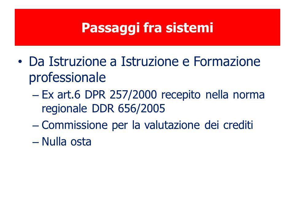 Passaggi fra sistemi Da Istruzione a Istruzione e Formazione professionale – Ex art.6 DPR 257/2000 recepito nella norma regionale DDR 656/2005 – Commi