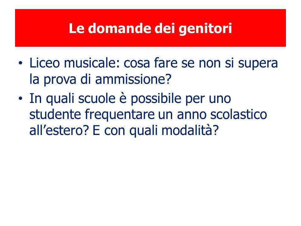 Le domande dei genitori Liceo musicale: cosa fare se non si supera la prova di ammissione? In quali scuole è possibile per uno studente frequentare un