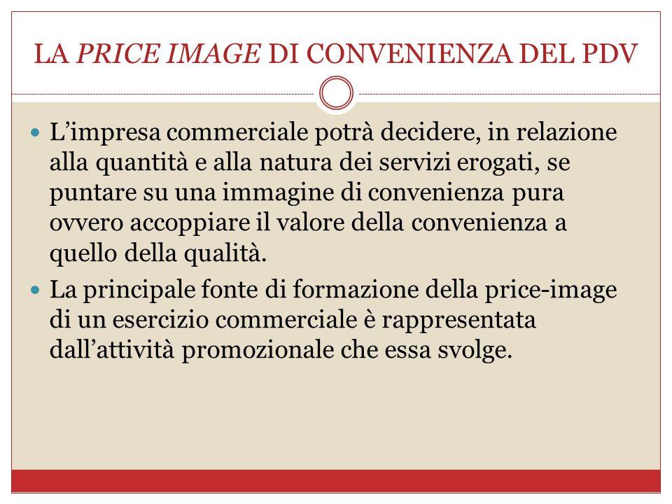 LA PRICE IMAGE DI CONVENIENZA DEL PDV L'impresa commerciale potrà decidere, in relazione alla quantità e alla natura dei servizi erogati, se puntare s