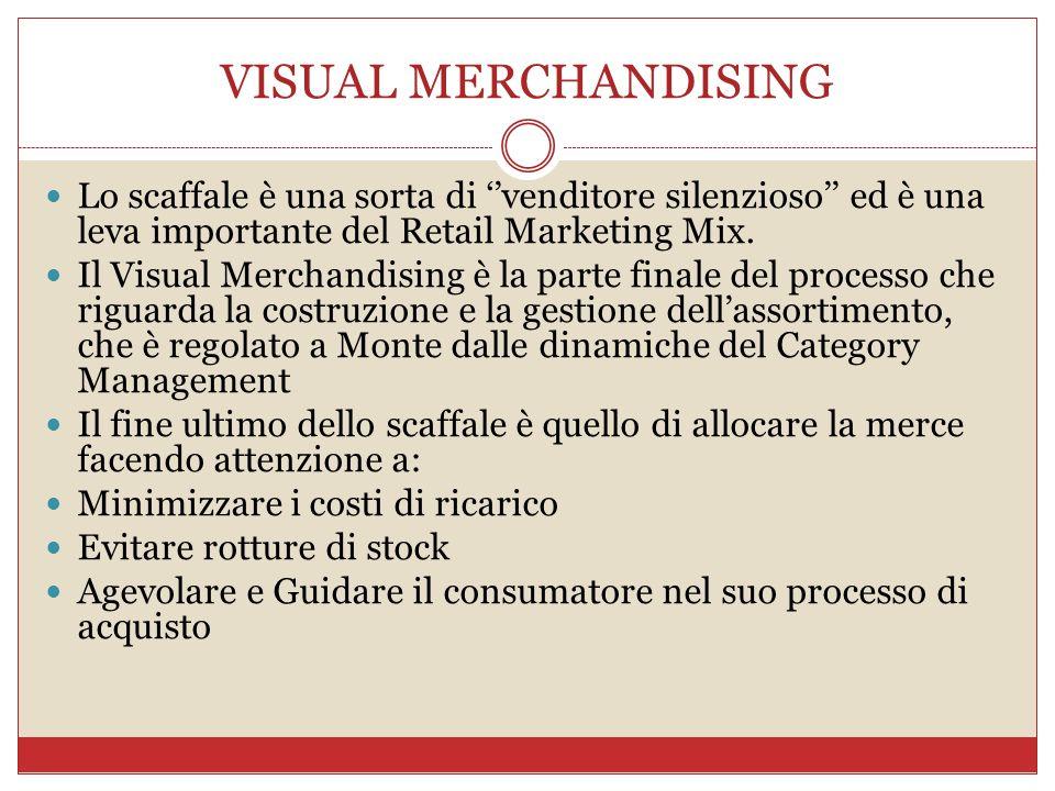 VISUAL MERCHANDISING Lo scaffale è una sorta di ''venditore silenzioso'' ed è una leva importante del Retail Marketing Mix. Il Visual Merchandising è