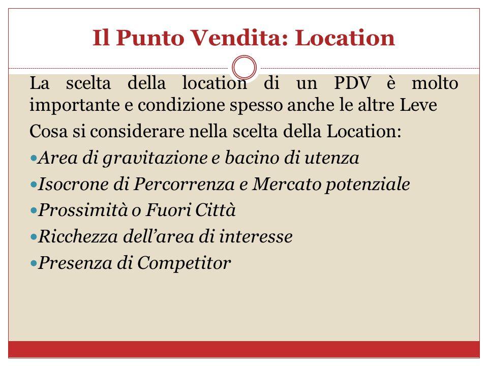 Il Punto Vendita: Location La scelta della location di un PDV è molto importante e condizione spesso anche le altre Leve Cosa si considerare nella scelta della Location: Area di gravitazione e bacino di utenza Isocrone di Percorrenza e Mercato potenziale Prossimità o Fuori Città Ricchezza dell'area di interesse Presenza di Competitor