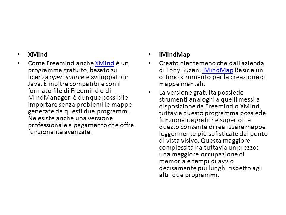 XMind Come Freemind anche XMind è un programma gratuito, basato su licenza open source e sviluppato in Java. È inoltre compatibile con il formato file