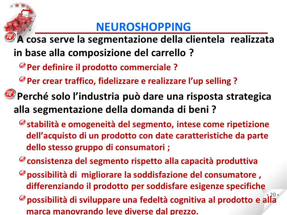 NEUROSHOPPING A cosa serve la segmentazione della clientela realizzata in base alla composizione del carrello .