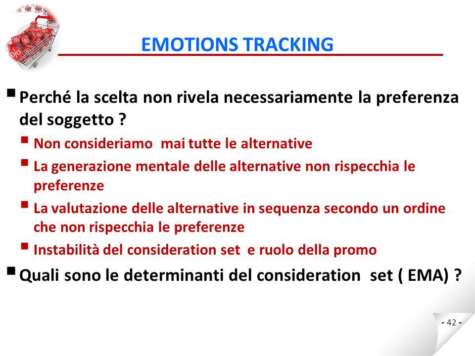 EMOTIONS TRACKING  Perché la scelta non rivela necessariamente la preferenza del soggetto .