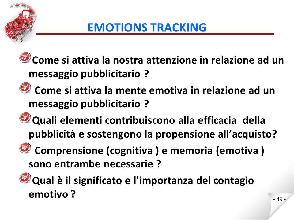 EMOTIONS TRACKING Come si attiva la nostra attenzione in relazione ad un messaggio pubblicitario .