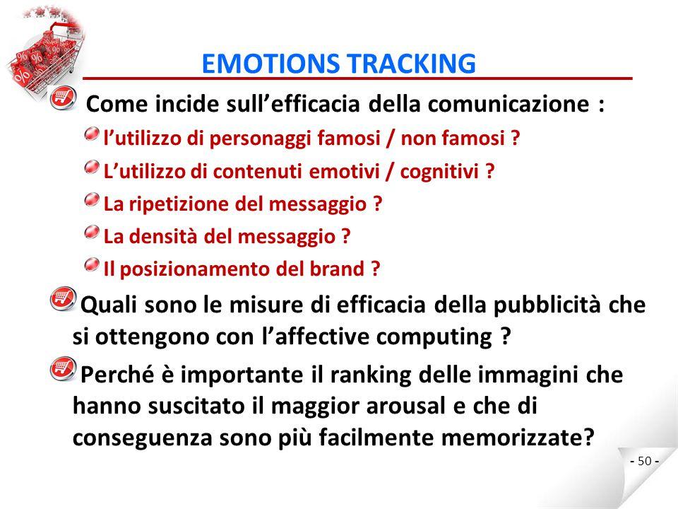 EMOTIONS TRACKING Come incide sull'efficacia della comunicazione : l'utilizzo di personaggi famosi / non famosi .