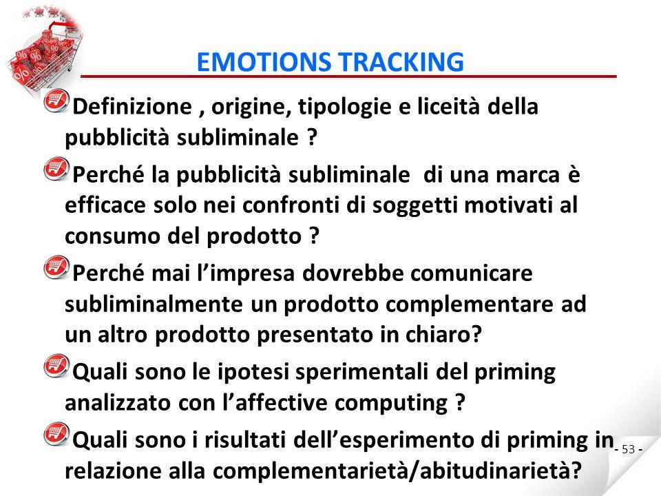 EMOTIONS TRACKING - 53 - Definizione, origine, tipologie e liceità della pubblicità subliminale .