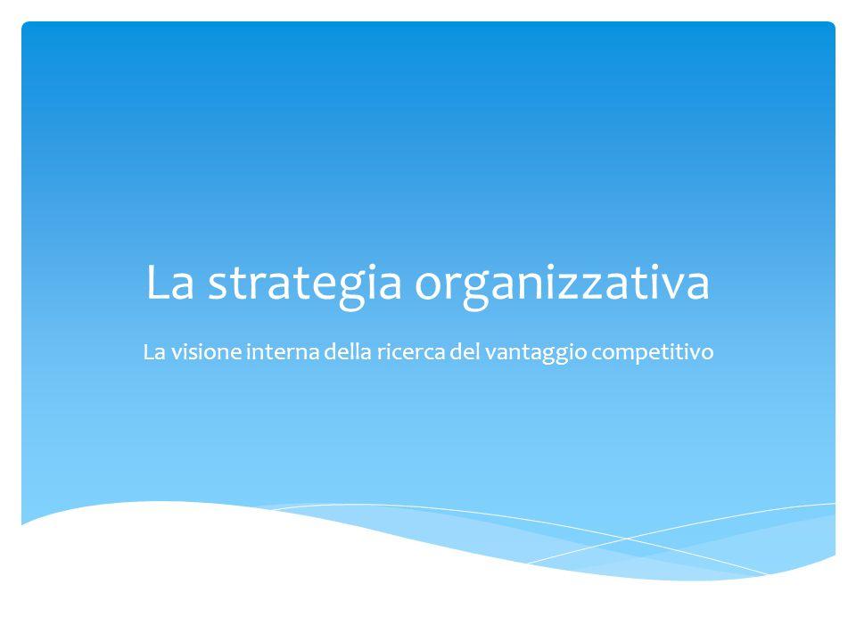 La strategia organizzativa La visione interna della ricerca del vantaggio competitivo
