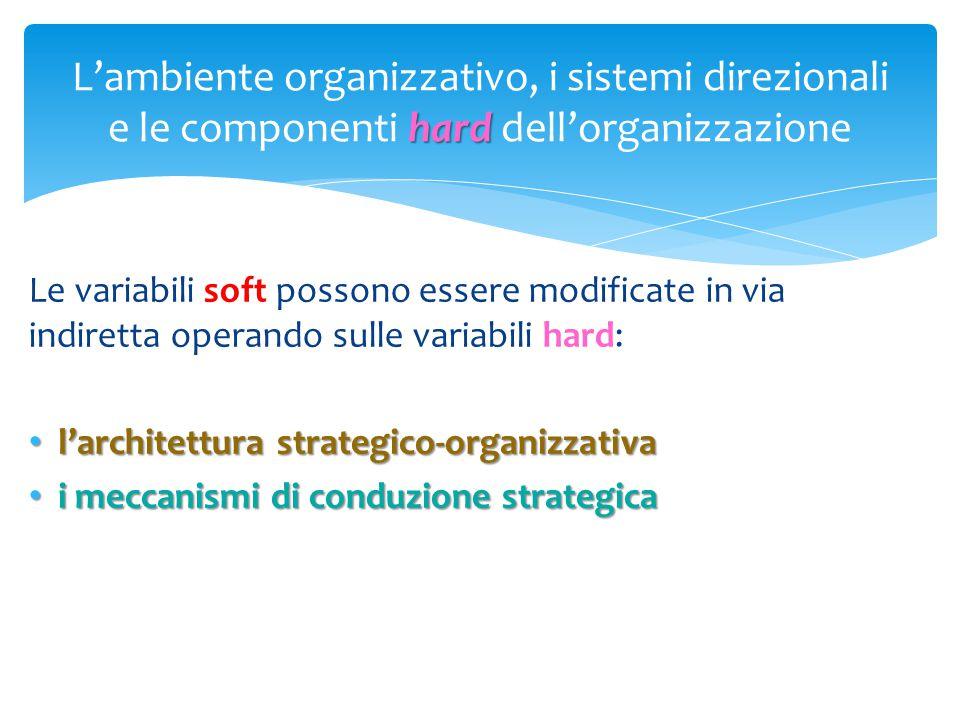 hard L'ambiente organizzativo, i sistemi direzionali e le componenti hard dell'organizzazione Le variabili soft possono essere modificate in via indir