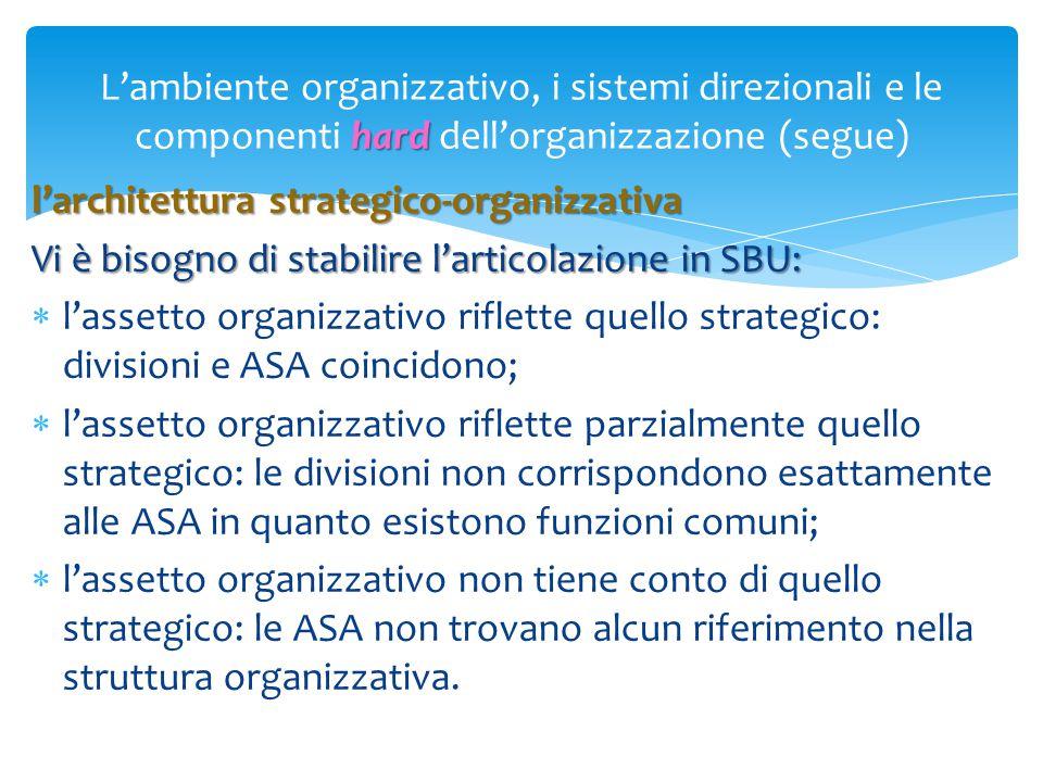 hard L'ambiente organizzativo, i sistemi direzionali e le componenti hard dell'organizzazione (segue) l'architettura strategico-organizzativa Vi è bis