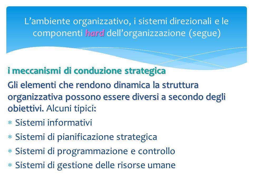 hard L'ambiente organizzativo, i sistemi direzionali e le componenti hard dell'organizzazione (segue) i meccanismi di conduzione strategica Gli elemen
